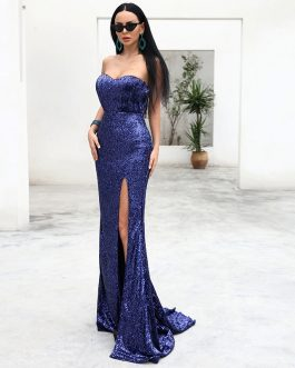 Sexy Bra Off Shoulder Sequin High Split Maxi Dress