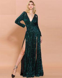 Sexy Deep-V Long Sleeve High Split Reflective Maxi Dress