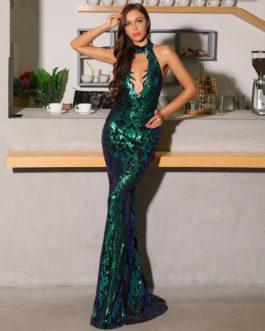 Sexy High Neck Off Shoulder Sequin Maxi Dress