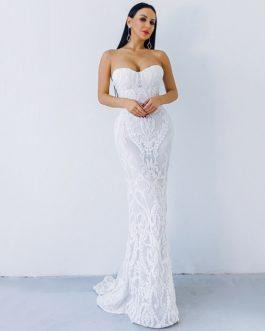 Sexy New Bra Off Shoulder Retro Geometry Sequin Maxi Dress