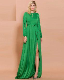 Sexy O Neck Long Sleeve High Split Solid Color Elegant Maxi Dress