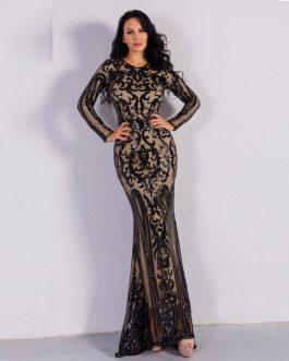 Sexy O Neck Long Sleeve Retro Sequin Maxi Dress