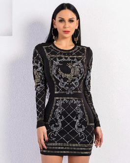 Sexy O-Neck Long-Sleeved Geometric Silver And Gold Studded Velvet Mini Dress