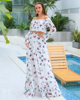 Sexy Off Shoulder Backless Print Maxi Dresses