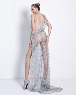 Sexy Off Shoulder Irregular Neck Backless Maxi Dress