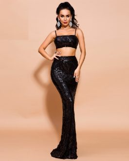 Sexy Off Shoulder Sequin Getrometry Co-ords