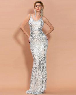 Sexy Off Shoulder Sequin Maxi Dress