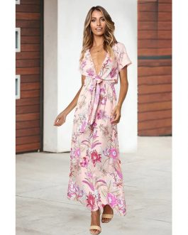 Sexy Ruffles Deep V-Neck High Waist Boho Print Maxi Dress