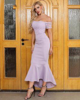 Sexy Slash Neck Off Shoulder Short Sleeve Lace Dresses