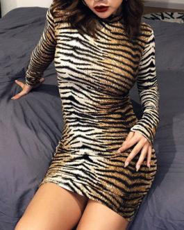 Sexy Tiger Print High Collar Pencil Dress