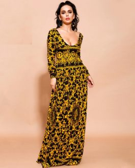 Sexy V Neck Long Sleeve Bohemian Maxi Dresses