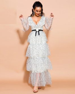 Sexy V Neck Long Sleeve Dot Ruffles Maxi Dresses