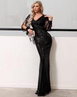 Sexy V Neck Long Sleeve Sequin Maxi Dress