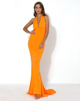 Sexy V Neck Off Shoulder Backless Solid Color Elegant Maxi Dress