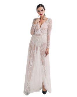 Sexy V-neck Lace Split Maxi Dress