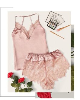 Lace Trim Satin Cami Top and Shorts Pj Set
