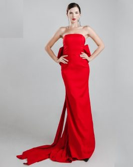 Sexy Wrapped Chest Bow Halter Maxi Dress