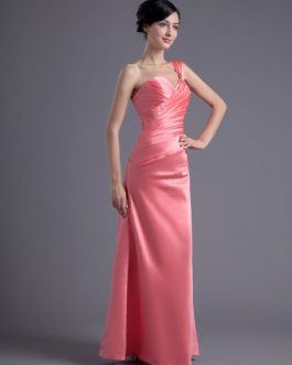 Sheath Satin Rhinestone Sweetheart Wedding Bridesmaid Dress