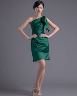 Short One-Shoulder Sheath Ruched Satin Bridesmaid Dress