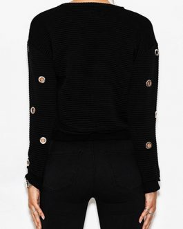Short Sweater Lace Up Grommets Round Neck Casual Pullovers