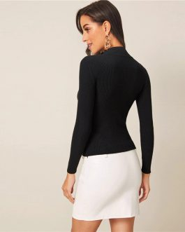 Solid Stand Collar Ribbed Knit Autumn Casual Sweater