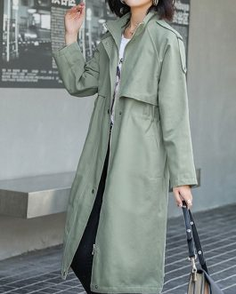 Stand Collar Buttons Casual Long Sleeve Wrap Coat