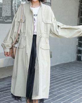 Stand Collar Long Sleeves Casual Coat