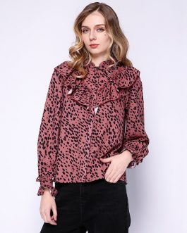 Stand Collar Two-Layers Ruffles Elegant Tops