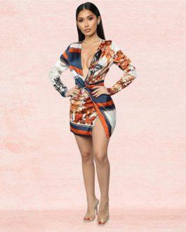 Stripes Elegant Print Deep V-neck Side Split Mini Dress