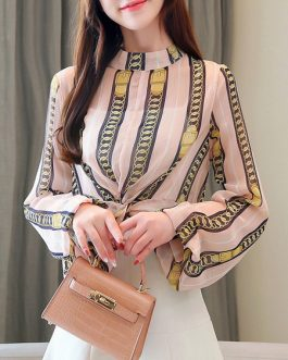 Stripes Layered Pleated High Collar Academic Long Sleeves Chiffon Tops