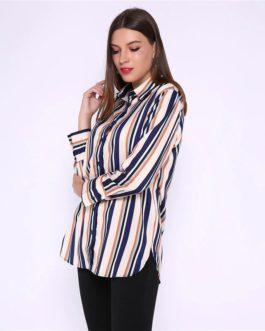 Stripes Long Sleeve Basic Oversize Tops