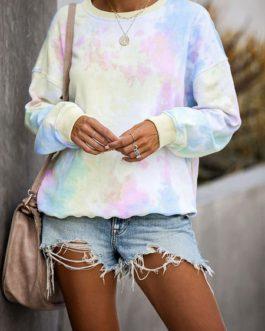 Tie Dye Sweatshirts Long Sleeves Pullover Top