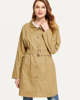 Trench Coat Long Sleeve Tie Belt Windbreaker Jacket With Pockets