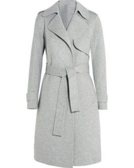 Trench Coat Long Sleeve Tie Waist Turndown Collar Coat