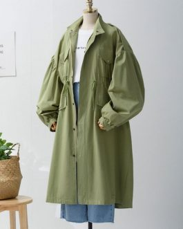 Trench Coat Oversized Stand Collar Drawstring Windbreaker Coat