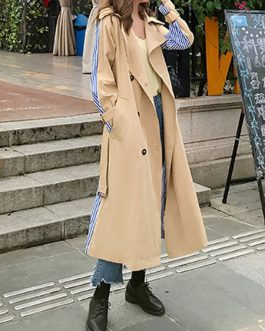 Trench Coat Stripes Patchwork Turndown Collar Pockets Oversized Wrap Coat