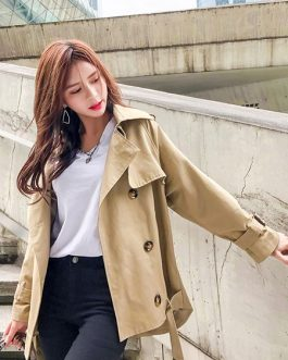 Trench Coat Turndown Collar Buttons High Low Casual Coat