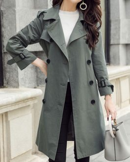 Trench Coat Turndown Collar Buttons Long Sleeve Peacoat
