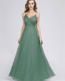 Tulle A Line V Neck Floor Length Wedding Party Bridesmaid Dress