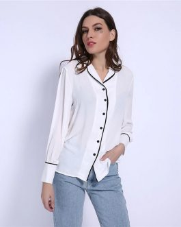 Turn Down Collar Elegant Office Shirt