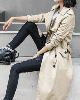 Turndown Collar Buttons Casual Wrap Coat