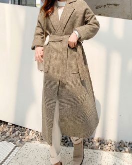 Turndown Collar Long Sleeves Pockets Plaid Casual Wrap Coat