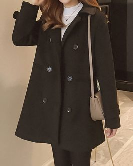 Turndown Collar Pockets Casual Oversized Black Wrap Coat