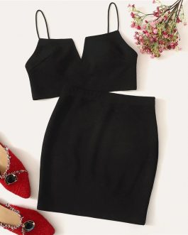 V-Cut Crop Cami Sleeveless Top And Skirt Two Piece Sets