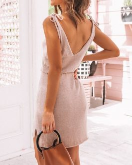Vestidos Sexy Sleeveless Backless Mini Dress