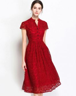 Vintage Lace Short Sleeve Stand Neck Button Party Dress