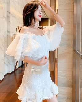 Vintage Ruffles Embroidery Slash Neck Mini Dress