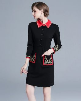 Vintage Turn Down Collar Embroidered Wrist Sleeve Shirt Dress