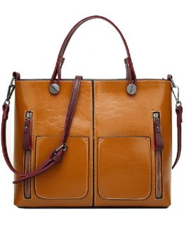 Women Oil Wax Leather Tote Bag Retro Shoulder Bags Handbags