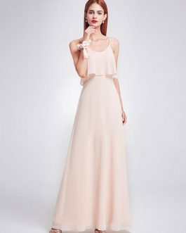 A Line Floor Length Zipper Chiffon Wedding Party Bridesmaid Dresses
